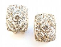 Art Deco Style Rhinestone Set Latch Back Earrings.